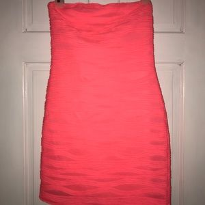 Neon pink fitted dress